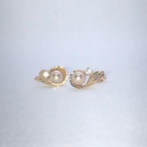💛 10k Yellow Gold Pearl & CZ Earrings